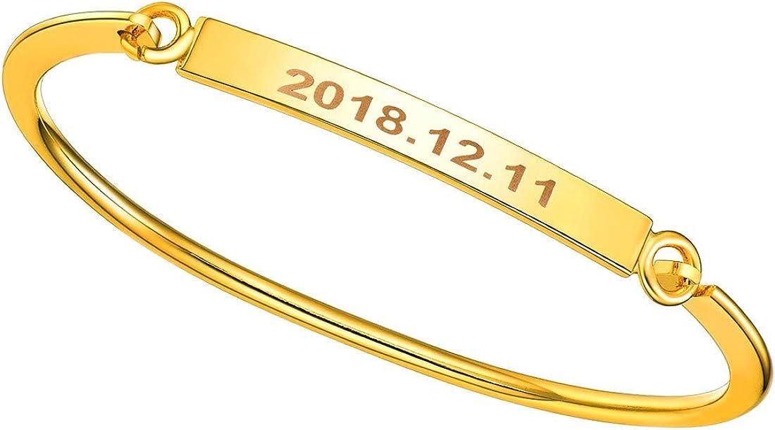 U7 Women Girls Customized ID Bracelet Stainless Steel/18K Gold Plated Dainty Link Engraving Name/ICE/Birthstone Identification Bar Bracelet Bangle
