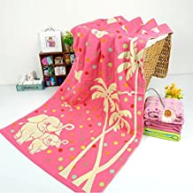 Cartoon style 100% Cotton Bath towel Woven Couples?Beach towels pink Elephant