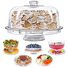 Cake Stand with Dome Cover, 6-in-1 Multi-Purpose Use, Serving Platter, Punch Bowl, Desert Platter And More, BPA Free