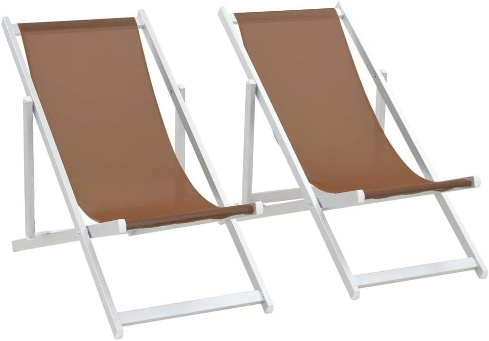 Benkeg Juego De 2 Sillas De Playa O De Camping Plegables de 3 Posiciones Sillas De Playa Plegables Aluminio textilene marrón 110 x 57 x 83 cm, Tumbonas Jardin Exterior