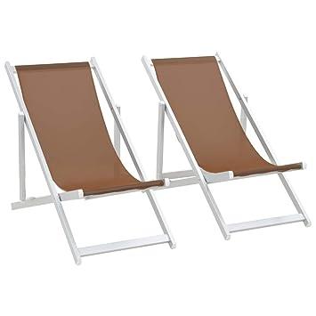 vidaXL 2X Sillas de Playa Plegables Aluminio Textilene Marrón ...