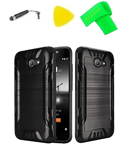 Brush Hybrid Cover Case Cell Phone Accessory + Extreme Band + Stylus Pen + Pry Tool For Consumer Cellular Alcatel Kora (Brush Black-Black)