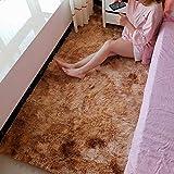 AMYDREAMSTORE Fluffy Shaggy Rug,high Pile Area Rug,Anti-Slip Carpet Pad,Plush Furry Rugs,Bedside Floor Mat,Ultra Soft Carpet Rug,for Living Room Khaki 160x60cm(63x24inch)