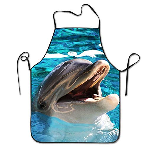 - Dolphin In Pool Novelty Home Butchers Apron 100% Polyester For Men Women