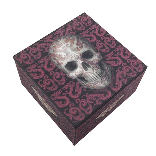 Ebros Gift Ancient Chinese Dragon Tattoo Death Hallow Skull Jewelry Trinket Mirror Box
