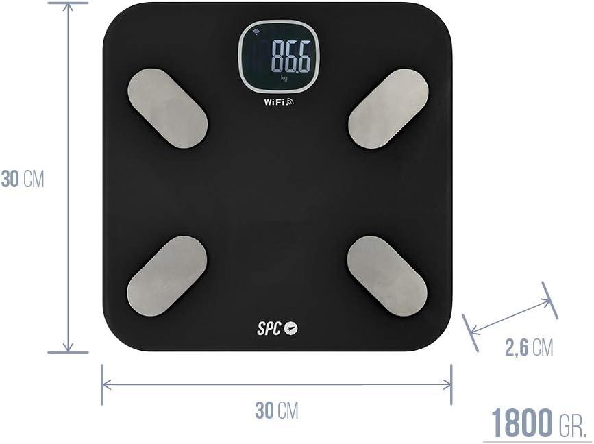 SPC Atenea Fit - Báscula de análisis aorporal inteligente Wi-Fi, para usuarios ilimitados (compatible con Amazon Alexa y Google Home) – Color Negro: Spc: Amazon.es: Electrónica