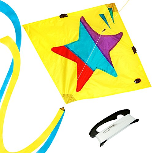 emma kites Diamond Kite Little Star 320ft Single Line with Double Tails - Easy to Assemble, Fly - Great Outdoor Games and Activities for Kids and Beginners (Star Kite)