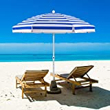 MOVTOTOP Beach Umbrella, 6.5ft Sand Anchor with Tilt Aluminum Pole, Portable UV 100+ Protection Beach Umbrella with Carry Bag for Outdoor Patio Blue/White