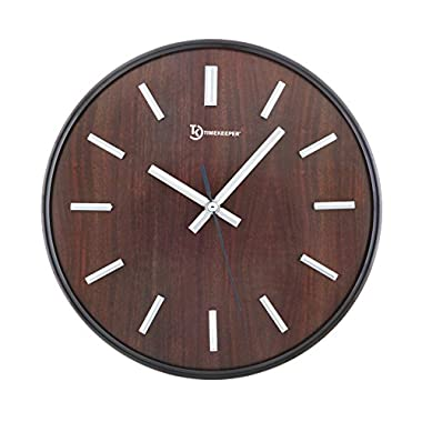Timekeeper Hastings Woodtones 11  Wall Clock with Faux Wood Face and Smoked Chrome Metal Frame with Metal Hands and Domed Glass Cover, Walnut/Smoked Chrome