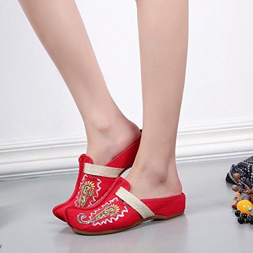 de Glissement brodées de Femmes Paillettes Occasionnelles Chaussures Chaussures Rouge Pantoufles de Exotiques de Utpw1qxPd