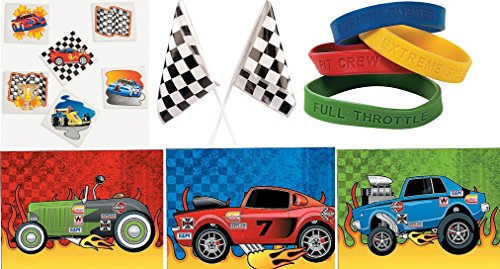120 Pc Kid's Race Car Party Favor Bundle Pack (72 Tattoos, 12 Bracelets, 12 Sticker Sheets, 24 Checkered Racing Flags) ()