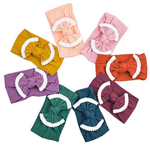 (Super Stretchy Knot Nylon Baby Headbands For Newborn Baby Girls Infant Toddlers Kids (White Pom Poms-8PCS))