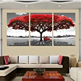 KINGSO Red Tree Canvas Home Decor Abstract Artwork Painting For Wall 3pcs 50x70cm