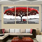 KINGSO Red Tree Canvas Home Decor Abs...