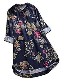 GRMO Women 's Casual Estampado Floral de Manga Larga Camisa de Lino, una Linea de Vestido Midi