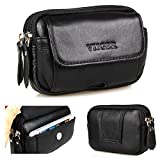 VIIGER Multipurpose Horizontal Leather Cell Phone Pouch For Men With Belt Loop Smartphone Holster Belt Pouch Small Belt Bag Waist Bag Pack Flip Magnetic Closure Belt Hip Purse for iPhone SE 5 5S 5C
