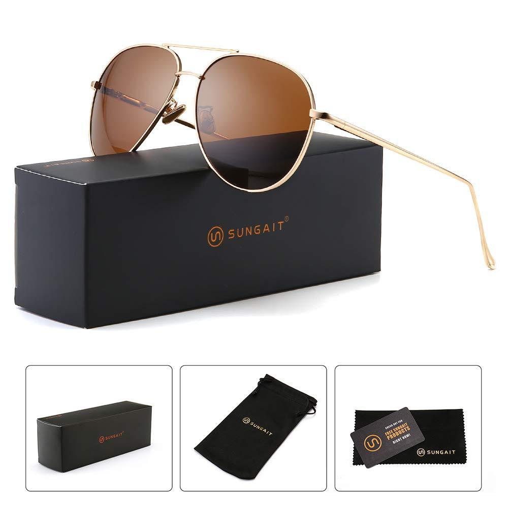 SUNGAIT Women's Lightweight Oversized Aviator sunglasses - Mirrored Polarized Lens (Light-Gold Frame/Brown Lens, 60)1603TKC