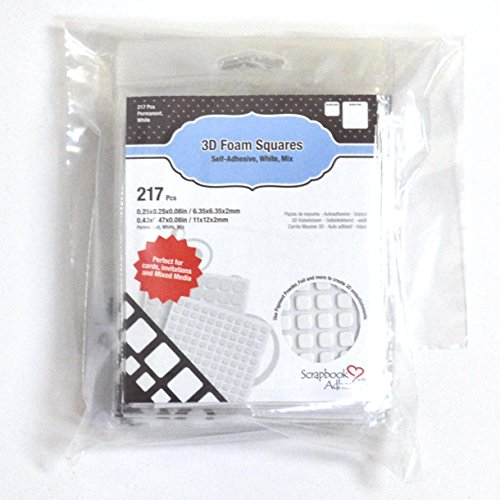 SCRAPBOOK ADHESIVES BY 3L 3L Scrapbook Adhesive Permanent Pre-Cut 3D Foam Squares, Mixed Variety, 217pk, White - Set of 10, ()