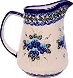Polish Pottery Ceramika Boleslawiec, 0208/162, Pitcher Jacek 4, 5 1/2 Cups, Royal Blue Patterns with Blue Pansy Flower Motif