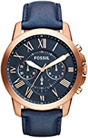 Fossil Men's FS4835 Grant Chronograph Leather Watch-Rose Gold-Tone and Blue