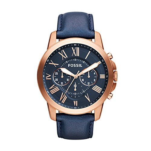Fossil-Mens-FS4835-Grant-Chronograph-Leather-Watch-Rose-Gold-Tone-and-Blue