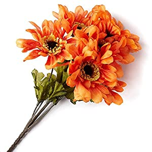 Factory Direct Craft Poly Silk Artificial Zinnia Bush for Indoor Decor - 4 Bushes (Orange) 25