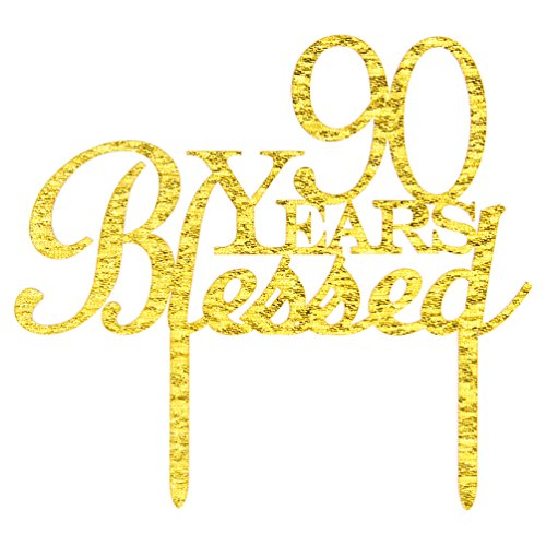 90 Years Blessed Cake Topper