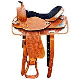 ME Enterprises Adult Western Trail Barrel Racing Premium Leather TREELESS Horse Saddle Tack Size 14″ to 18″ inch Seat Available