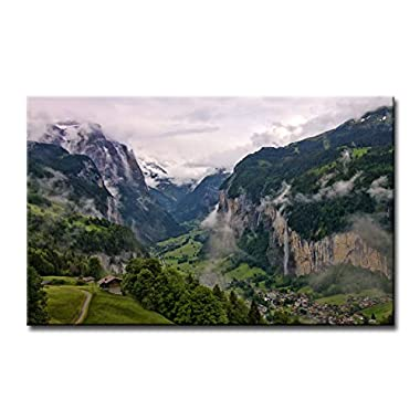 So Crazy Art Wall Art Painting Lauterbrunnen Valley Switzerland Pictures Prints On Canvas Landscape The Picture Decor Oil For Home Modern Decoration Print