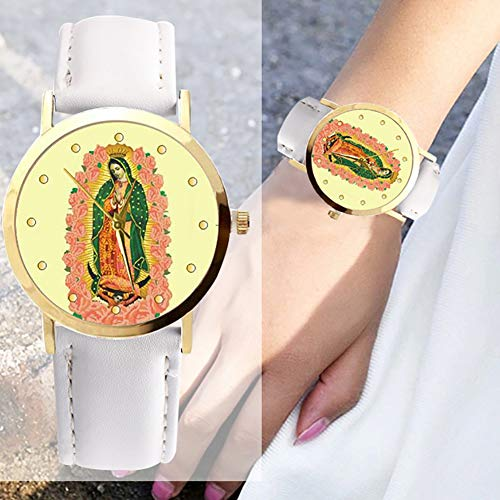 lightclub Christian Virgin Mary Flower Round Dial Faux Leather Strap Women Wristwatch - Black by lightclub (Image #5)