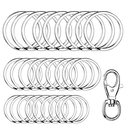 Yinghezu 30 Pieces + 1 Pieces Metal Swivel Clasps, Nickel Plated Silver Round Flat Key Chain Rings Metal Split Ring for Home Car Keys Organization, 3/4 Inch, 1 Inch and 1.25 Inch, (Silver) ()