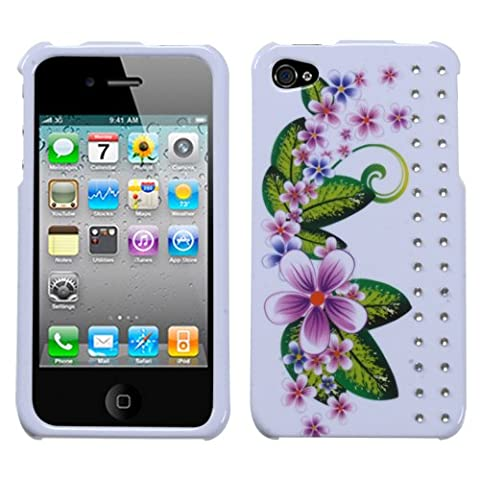 Purple Small Flowers Phone Protector Faceplate Cover with Diamonds For APPLE iPhone 4S/4/4G - Diamond Protector Faceplate