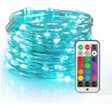 YIHONG Fairy String Lights USB Powered, 33ft Twinkle Lights with RF Remote, Color Change Firefly Lights - 13 Colors