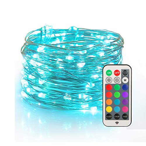 YIHONG Fairy String USB Plug-in Lights - 33ft Long Twinkle Lights - Color ChangeFirefly Lights with RF Remote - 13 Vibrant Colors - Fade Flash Strobe Modes