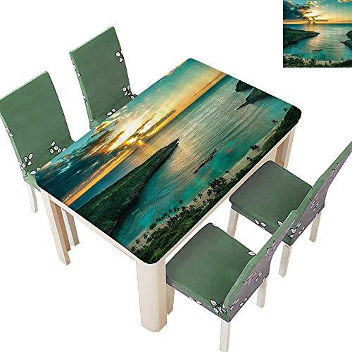 Printsonne Polyesters Tablecloth Sunrise Over Hanauma Bay Oahu Hawaii Sunams Through Dark Clouds Shore Wedding Birthday Party 52 x 108 Inch -