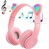 POTIKA Fone De Ouvido Bluetooth 5.0 Sem Fio, Fone De Ouvido Lindo Em Forma De Orelha De Gato, Cancelamento De Ruídos Sobre Os