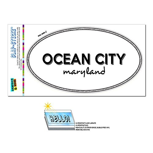 Euro Oval Window Bumper Laminated Sticker Maryland MD City State For - Par - Ocean City -
