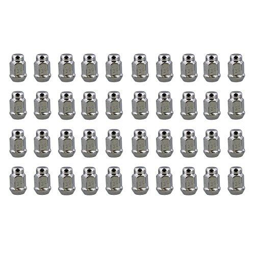 "ABN Wheel Lug Nuts 40-Pack, M12 x 1.5 Chrome Lug Nuts JDM – 1.4"" Inch Tall, 3/4"" 19mm Hex Wheel Lugs – Acorn Cone Nut (Lug Nut Capped)"