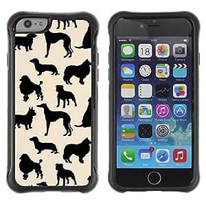 Suave TPU GEL Carcasa Funda Silicona Blando Estuche Caso de protección (para) Apple Iphone 6 / CECELL Phone case / / dog species pattern black beige /
