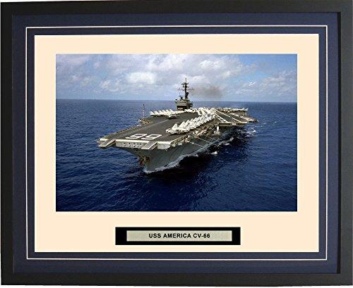 - Navy Emporium - USS America CV-66 - Framed - Photo - Engraved Ship Name - Double Mat - Photograph - 16 X 20 - 190CV66Blue