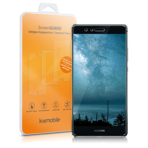kwmobile Screen protector tempered glass for Huawei P9 Plus in crystal clear (smaller than the display, due to its curved edges)