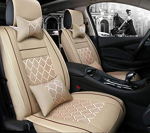 Phcom Ice silk car seat cushion 5 seats full set, non-slip suede backing universal adjustable bench suitable for 99% car type,Red,Beige: Amazon.co.uk: Sports & Outdoors