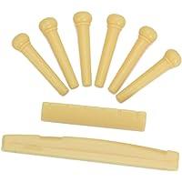 Generic Set of Acoustic Guitar Bridge Pins Saddle Nut Yellow