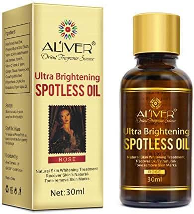 ALIVER Ultra Brightening Spotless Oil (30ml), Rose Essential Skin Whitening Serum, Organic Recover Skin Tone and Texture, Remove Dark Spots, Age Spots, Hyper Pigmentation.