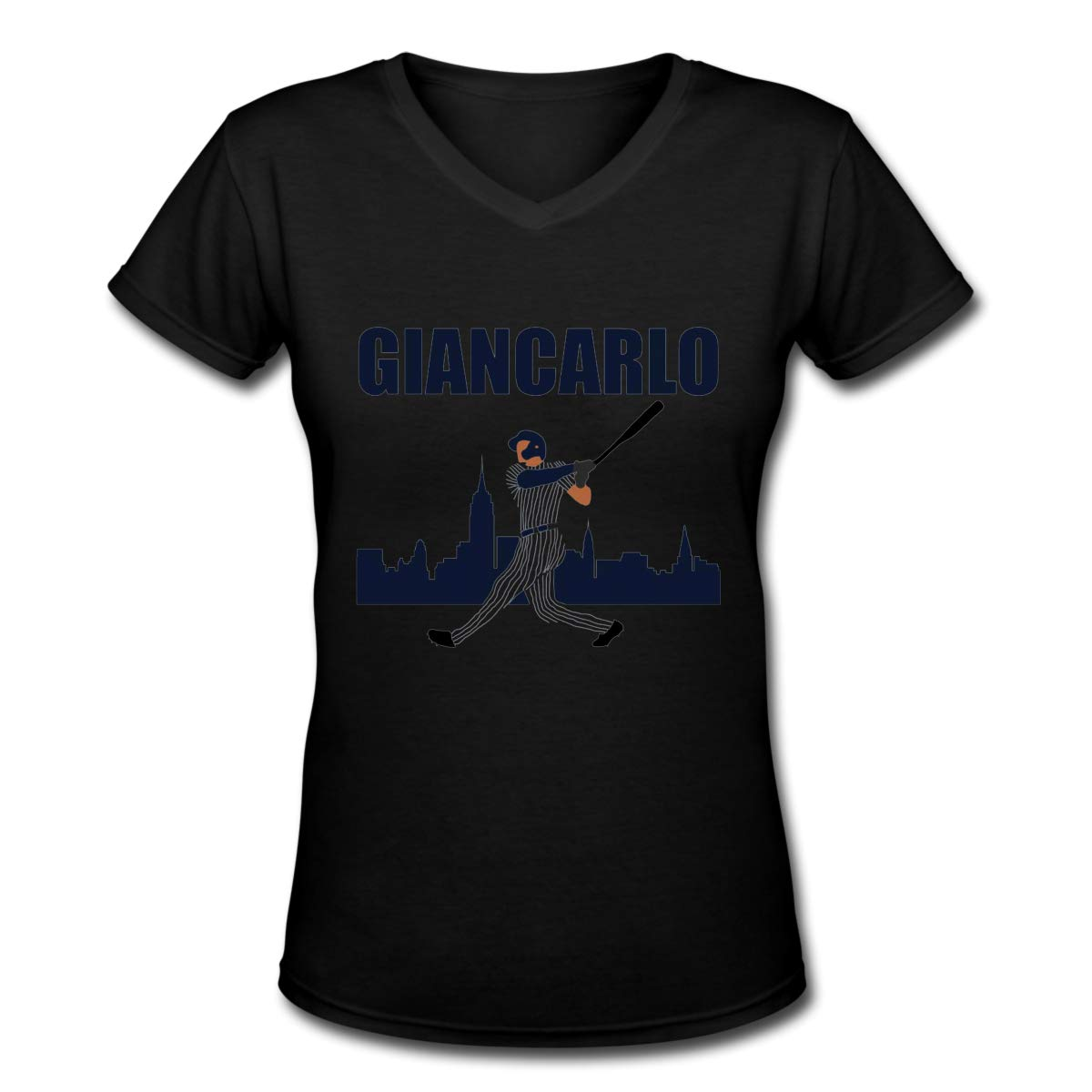 Giancarlo New York Womens T Shirt Casual Cotton Short Sleeve V-Neck Graphic T-Shirt Tops Tees