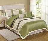 7 Piece Liverpool Jacquard Circle Patchwork Comforter Set (Queen, Olive)