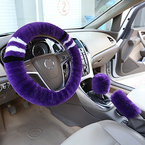 Dotesy Bling Bling Handbrake Cover /& Shift Gear Cover Set Plush Crystals Car Accessories for Women Set of 2pcs