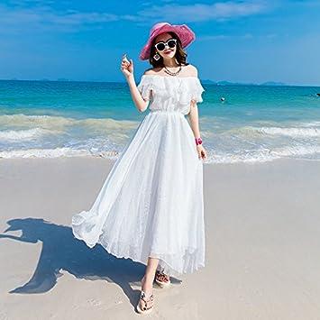 DESY Vestido largo blanco, vestido del día de fiesta de la playa, verano del