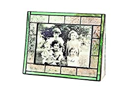 J Devlin Pic 122-57H Stained Glass Photo Frame Horizontal Uses 5x7 Landscape Picture Sage Green