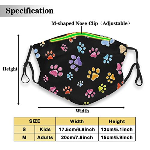 POSONINGS Dog Gone Pawful Paws KN95 Mouth Mask,Free Two N95 Filter Elements Mask Personality Print Anti-Pollen Mask Anti-dust and Polyester Face Mask Face PM2.5